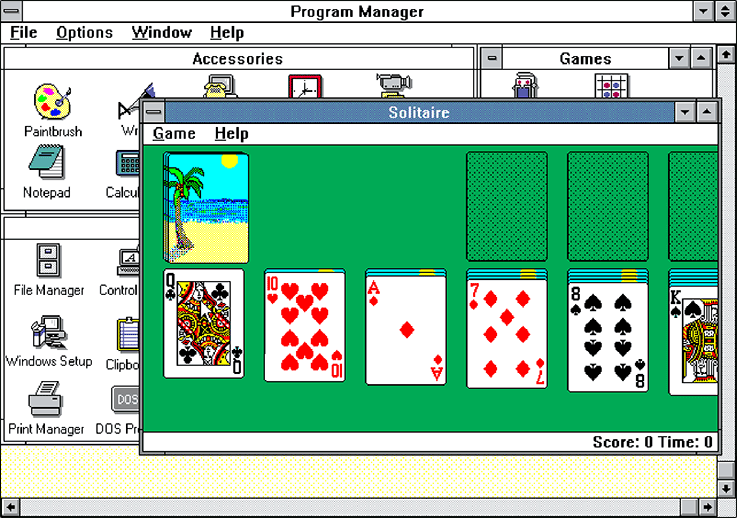 First Solitaire game on Microsoft Windows 3.0